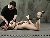 Brunette Kiki is fucked hard with the help of sybian and long stick