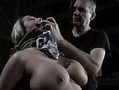 Seductive porn model with big boobs is punished in the basement