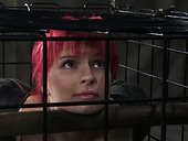 Pink haired sex-slave is sitting in the cage