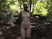 Small tittied chick with nylons on her head is punished outdoor