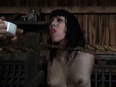 "Pale titless brunette has to stand in ""attention"" position with gag in mouth"