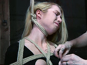 Blonde with tied up tits gets her nipples punished with threads