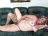 Disgusting chubby pale slutty oldie with plump belly is fucked on the sofa