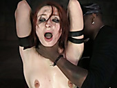 Obedient redhead with smeared makeup has to give deepthroat blowjob