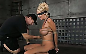 Wondrous big breasted tied up blondie has to deepthroat fat prick