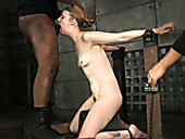 Skinny chestnut haired chick is handcuffed and mouthfucked hard