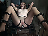 Perverted chick lies on the gyno table and gets punished