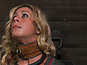 Crazy face fuck for tied up blond whore