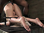 Fixed with some BDSM stuff blondie lies with her butt up and gets nailed