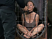 This curvy blonde is very excited about her first BDSM session