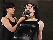 Tied up brunette with smeared makeup gets face pinned with pegs
