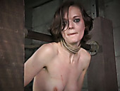 Slim chick is fucked with vibrator in the dark room