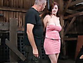 Big bottomed red haired slut in pink dress gets hands tied up behind back