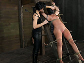 Perverted master and kinky mistress punish two sex-slaves in the scary room