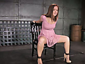 Cute sex-slave gets her deep throat fucked in the bdsm room