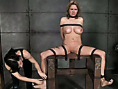 Belted big tittied whore is punished with nasal hooks