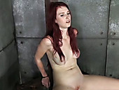 This naughty redhead with pierced nipples is getting punished nicely