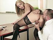 Hungry boss fucks kitty of slutty blond babe Christen Courtney