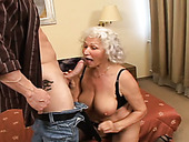 Plump grey haired curly oldie gives terrific BJ and fucks in doggy pose