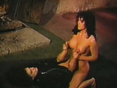 Spoiled ugly busty MILF rides horny servant's strong dick near fireplace