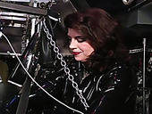 Tied up submissive dude gets his cock teased by slutty brunette domme