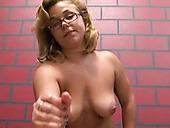 Chubby nerdy girl bites cock in dirty femdom porn clip