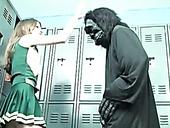 Kinky cheerleader kicks dude in a funny costume in his balls