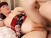 Red haired chick loves to test new sex toy with her hairy pussy