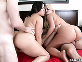 Plump facesitters Julie Cash and Tatianna get their quims stuffed
