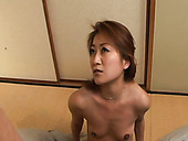 Asian milf gives good blowjob and gets fucked in missionary position