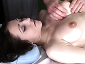 Lewd masseur turns on slutty busty brunette and gets rewarded with BJ