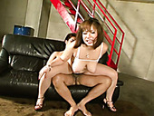 Busty mom Neiro Suzuka is tit fucked while getting nailed in her hairy muffin