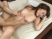 After hot fuck in standing position busty plump Japanese gal rides dick