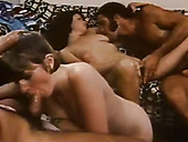 Breathtakingly hot group sex scene with two spunky temptresses