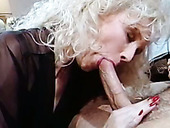 Horn-mad bright blonde vintage lady gives footjob and gets analfucked
