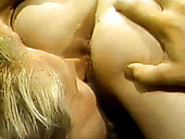 Horny dude gets nice blowjob and fucks hairy pussy of blondie till he cums