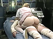 Dirty-minded extremely bootylicious blonde nurse sucks and rides cock