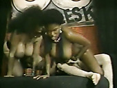 Ugly white messy haired vintage hooker and ebony bitch enjoy MFF threesome