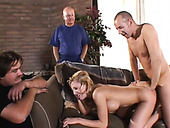 Horny chick gets nailed ruthlessly in front of her cuckold husband
