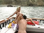 Huge boobed blonde MILF getting fucked bad on a boat