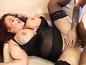 Giant Boobs Gina is fucked in her shaved and tattooed pussy