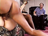 Wet hairy fanny of lewd busty blonde MILF is nailed hard in front of dudes