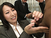 Dirty-minded Japanese office slut Yuuna Hoshisaki jerks off cock with joy