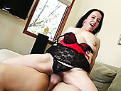 Brunette thick granny is so hungry for a big white cock