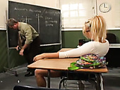 Kinky blonde college girl makes one of her professors happy