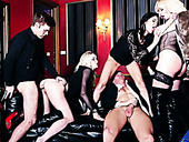 Splendid group sex orgy with several casino sluts