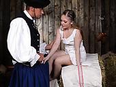 Naughty village girlfriend having sex fun with kinky boyfriend in the shed