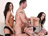 Two sexy European chicks take part in wild foursome orgy