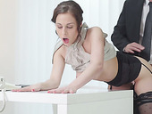 Charming brunette secretary in stockings gets pounded from behind