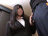 Cute hot college girl Kotomi Asakura gives head on her knees